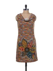 Sleevless Printed Cowl Neck Tunic - Kaxiaa