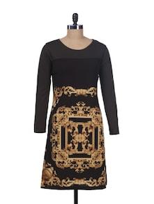Vintage Print Brown Dress - Kaxiaa