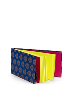 Blue Brocade Long Notebook With Fluorescent Pages - SUNDARBAN