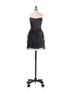 Black Tiered Mini Dress - Kaxiaa