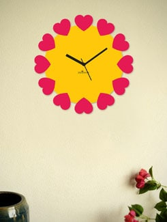 Blossoming Hearts-Red&Yellow Wall Clock - Zeeshaan
