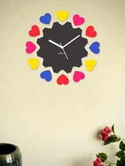 Cutout Hearts Black-Multi Wall Clock - Zeeshaan
