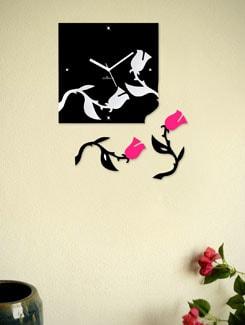 Falling Roses- Black & Pink Wall Clock - Zeeshaan