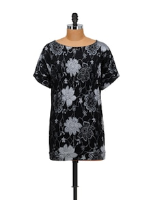 Stylish Black Floral Top - SPECIES