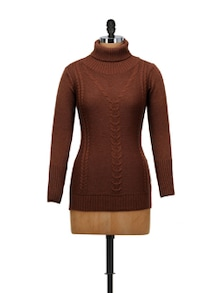 Chocolate Brown High Neck Pullover - SPECIES
