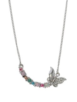 Rhodium Butterfly Necklace - Ivory Tag