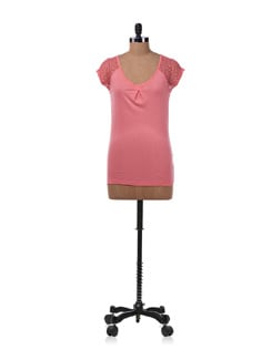 Pink Top With Sheer Detail - Allen Solly