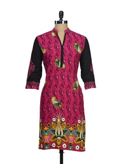 Contrasting Kurta In Pink And Black - AKYRA