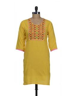 Embroidered Yellow Kurta - Jaipurkurti.com