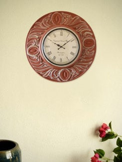 Brown Handmade Wooden Wall Clock - Marwar Stores
