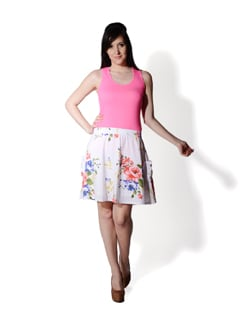 White Floral Skirt - Allen Solly
