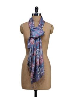 Blue & Pink Printed Scarf - SPRING SPRIGS