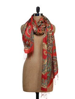 Zesty Orange Printed Scarf - SPRING SPRIGS