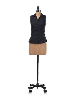 Black Sleeveless Shirt - Allen Solly