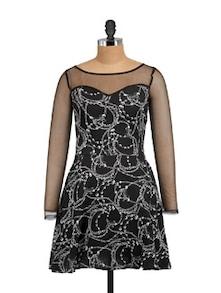 Mesh Sleeved Printed Party Dress - STREET 9