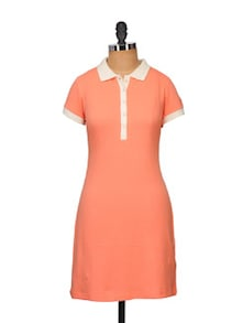 Chic Coral Polo Dress - STREET 9