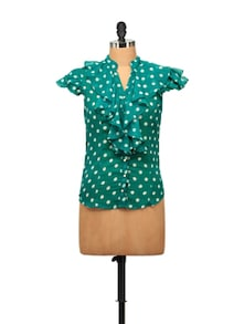 Frilly Green Polka Dotted Shirt - STREET 9