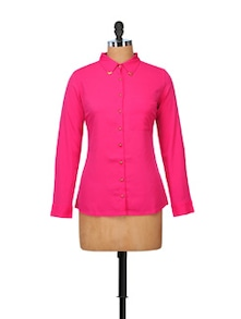 Valerie Pink Shirt With Golden Collar Tips - STREET 9