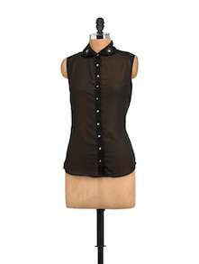 Anjuna Black Shirt With Hand Embroidered Collar - STREET 9