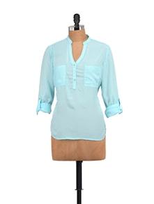 Sally Blue Shirt With Golden Buttons - STREET 9