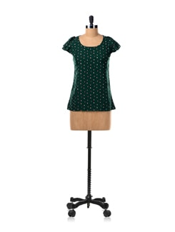 Tiny Bird Print Top With Flared Sleeves - Van Heusen