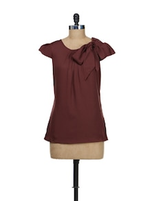 Bow Embellished Brown Top - Meira