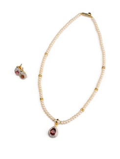Gleaming Stone And Pearl Necklace Set - Modi Pearls