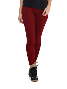 Deep Red Woolen Leggings - K For Women
