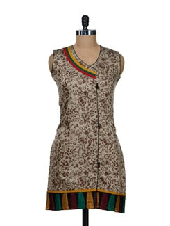 Leaf Embroidered Grey Kurti - Vendee Lifestyle