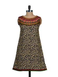 Leaf Print Kurti With Embroidered Yoke - Vendee Lifestyle