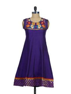 Regal Purple Kurti With Zari Work - Vendee Lifestyle