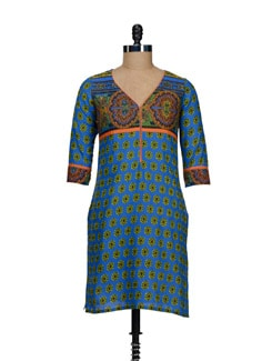 Bright Blue Printed Kurta - @ 499