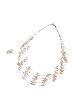 Multi String Pearl Necklace Set - Modi Pearls
