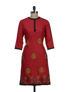 Red Embroidered Kurta - Tulsattva