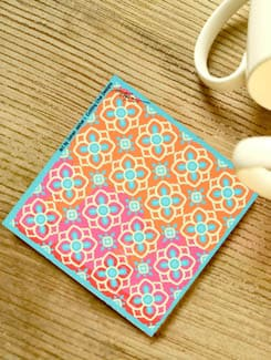 Orange & Pink Floral Coasters - Set Of 3 - Cutting Chai Designs