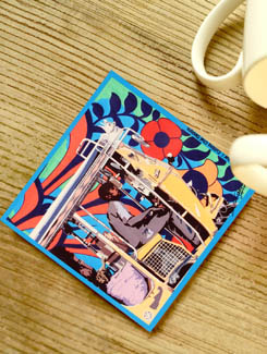 Quirky Rickshaw Print Coasters - Set Of 4 - Cutting Chai Designs