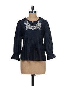 Embroidered Top With Smocked Sleeves - I AM FOR YOU