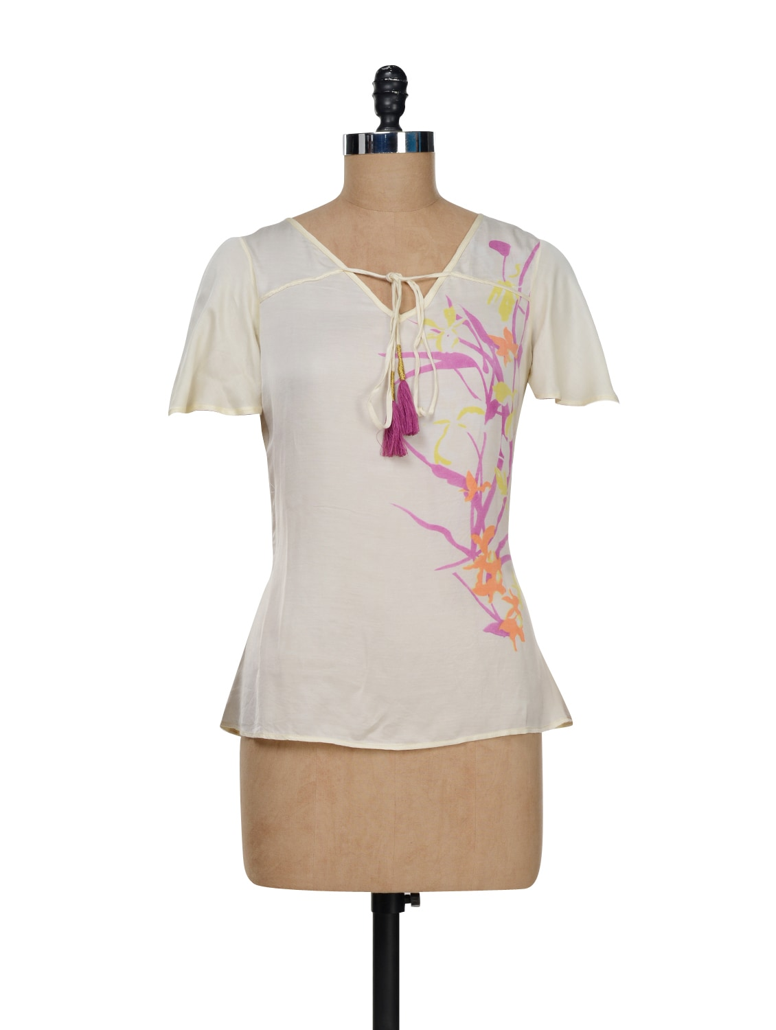 Silk Top With Tie Up Detailing - I AM FOR YOU