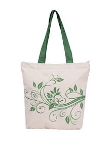 Off-White & Green Leaf Print Canvas Tote - Vogue Tree