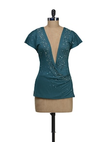 Teal Blue Back Embroidery Top - Schwof