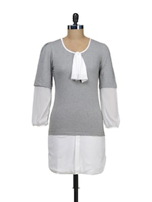 Grey Front Ruffle Dress - Schwof