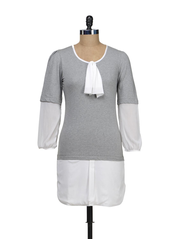 Grey Front Ruffle Dress - Schwof