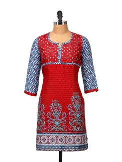 Stylish Red & Blue Printed Kurta - RIYA