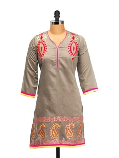 Steel Grey Embroidered Kurta - RIYA