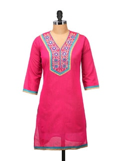 Embroidered Pink Kurta With Mirror Work - RIYA