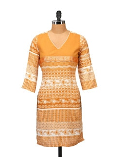 Orange & White Printed Kurta - RIYA