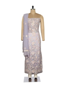 Elegant Mauve Embroidered Suit - Ada