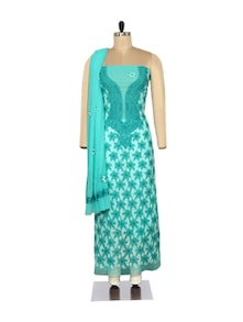 Aqua Blue Embroidered Suit - Ada