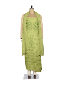 Olive Green Embroidered Suit - Ada