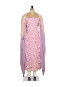 Pink & Purple Embroidered Suit - Ada